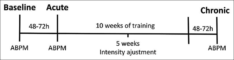 Figure 1: Experimental design. ABPM: Ambulatory blood pressure monitoring; BASELINE: ABPM at rest; ACUTE: ABPM shortly after an exercise session; CHRONIC: ABPM at rest after 10 weeks of exercise  training